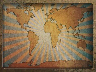 Plakat Archiwalne karty mapa świata