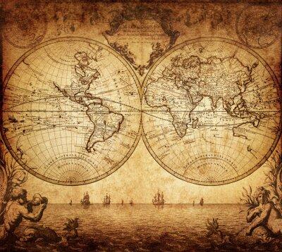 Plakat archiwalne mapa świata 1733