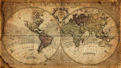 Plakat archiwalne mapa świata