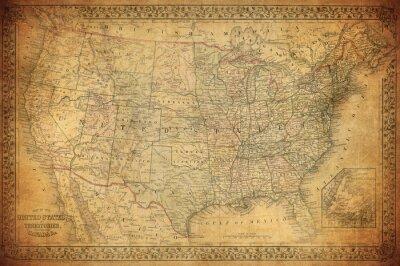 Plakat Archiwalne mapy z USA 1867