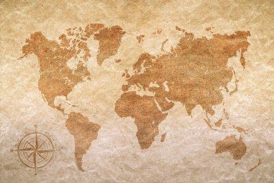 Plakat archiwalne papieru z mapy świata