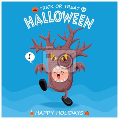 Archiwalne plakat Halloween z charakterem drzewa potwora.