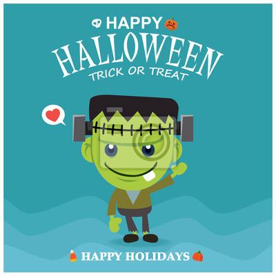 Archiwalne plakat Halloween z charakterem potwora wektora.