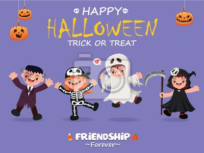 Archiwalne plakat Halloween z szkieletem wektorowym, potworem, duchem, charakterem żniwiarza.