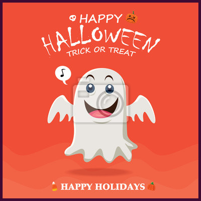 Archiwalne plakat Halloween z wektora ducha charakteru.