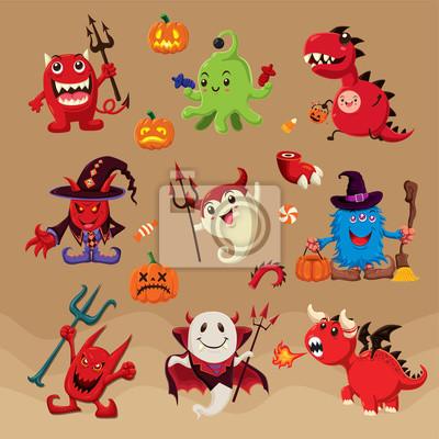 Archiwalne plakat Halloween z wektora szkarłacica, duch, wampir, smok, cudzoziemca znaków.