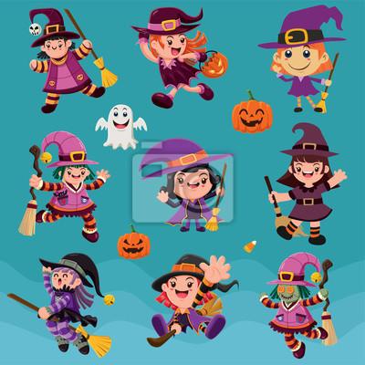Archiwalne plakat Halloween z wektora znaki czarownice.