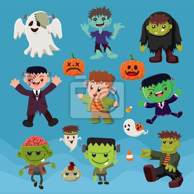 Archiwalne plakat Halloween z wektora zombie znaków.