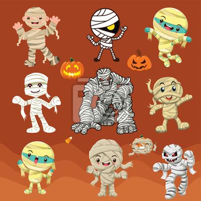 Archiwalne plakat Halloween z wektorem mumia znaków.