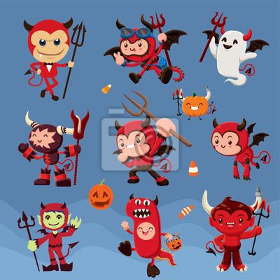 Archiwalne plakat Halloween z wektorem postaci diabła.