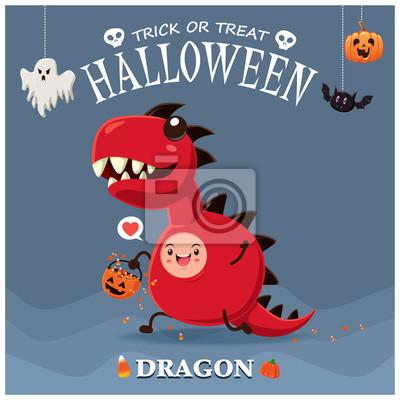 Archiwalne plakat Halloween z wektorem smoka potwora znaków.