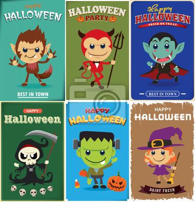 Archiwalne plakat Halloween z wektorem wilk mężczyzna, diabeł, wampir, żniwiarz, czarownica, znaki zombie.