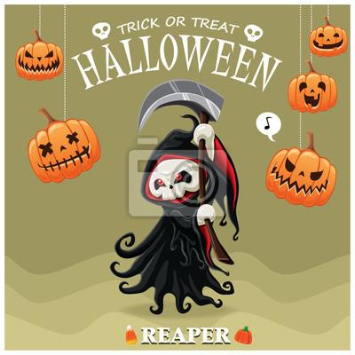Archiwalne plakat Halloween z wektorem żniwiarz charakter.