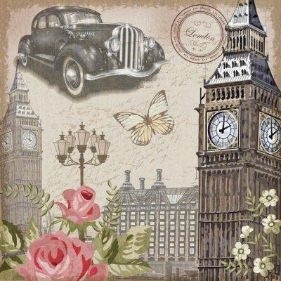 Plakat Archiwalne pocztówki w Londynie.