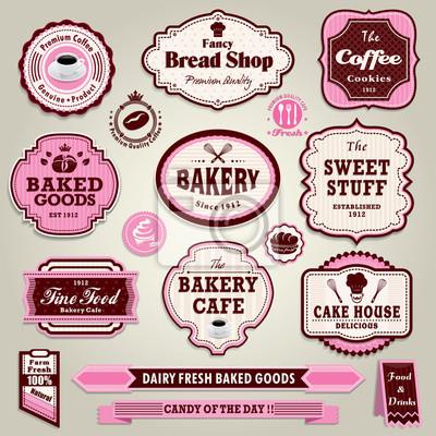 Plakat Archiwalne ramki ciastko, pieczywo, chleb, kanapka label set