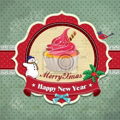 Plakat Archiwalne ramki z Christmas tle
