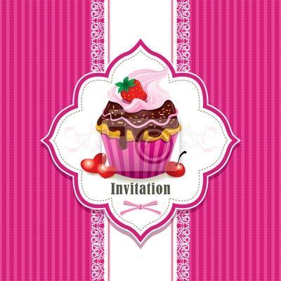 Plakat Archiwalne ramki z cupcake