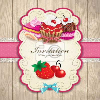 Plakat Archiwalne ramki z cupcake szablonu