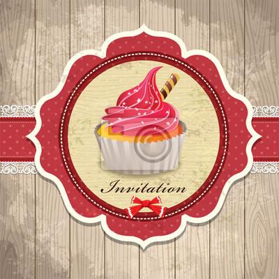 Archiwalne ramki z cupcake szablonu