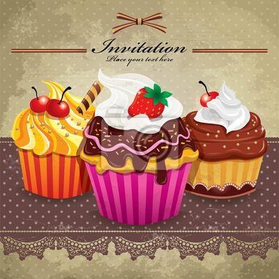 Plakat Archiwalne ramki z cupcake zestawie