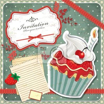 Archiwalne ramki z cupcake zestawu szablon zaproszenie