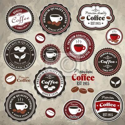 Archiwalne ramki z etykietą szablonu kawy