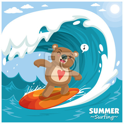 Archiwalne surfing plakat projektu z nosorożca wektor surfer.