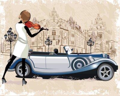 Plakat Archiwalne tła z retro samochodu i muzyków, widokiem na Stare Miasto.