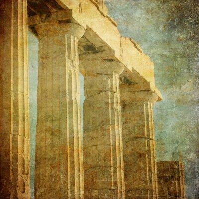 Plakat Archiwalne zdjęcie z greckich kolumn, Akropol, Ateny, Grecja
