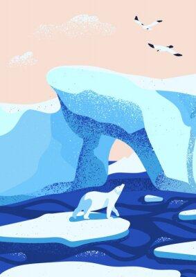 Plakat Arctic ice landscape flat vector illustration. Melting glaciers. Iceberg, snow mountains hills, winter nature beauty. Polar bear cartoon character standing on ice floe and looking at birds.