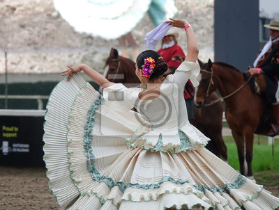 Plakat Argentinian traditional festival with gauchos and paisanas