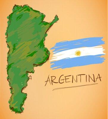 Plakat Argentyna mapa i Flaga Wektor