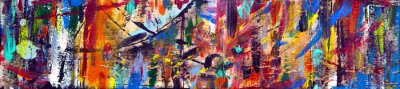Plakat Art abstract panorama; fun; creative background texture with random paint brushstrokes in amazing multicolor - painting concept for design - in long, thin header / banner.
