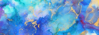 Plakat art photography of abstract fluid art painting with alcohol ink, blue and gold colors