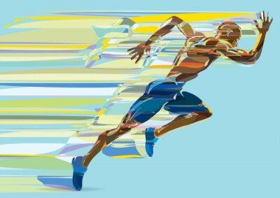 Artystyczne stylizowane bieżących człowiek w ruchu.