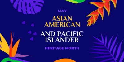 Plakat Asian American and Pacific Islander Heritage Month. Vector banner for social media, card, poster. Illustration with text, tropical plants. Asian Pacific American Heritage Month horizontal composition