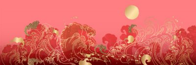 Plakat Asian background ,Oriental Chinese and Japanese style abstract pattern background design  with goldfish and wave decorate in water color texture