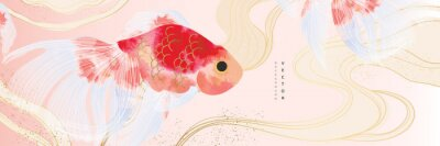 Plakat Asian background ,Oriental Chinese and Japanese style abstract pattern background design  with goldfish decorate in water color texture