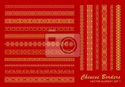 Plakat Asian border set in vintage style on red background. Traditional chinese ornaments for your design. Vector golden japanese pattern. Artwork graphic, asian culture decoration