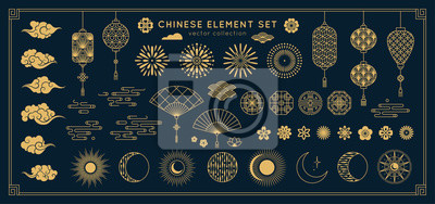 Plakat Asian design element set. Vector decorative collection of patterns, lanterns, flowers , clouds, ornaments in chinese and japanese style.