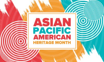 Plakat Asian Pacific American Heritage Month. Celebrated in May. It celebrates the culture, traditions and history of Asian Americans and Pacific Islanders in the United States. Poster, card, banner. Vector