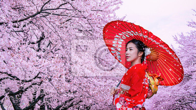 Plakat Asian woman wearing japanese traditional kimono and cherry blossom in spring, Japan.