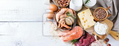 Plakat Asortyment zdrowego źródła białka i żywności budowniczej