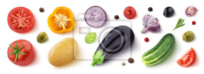 Plakat Assortment of different vegetables, herbs and spices, flat lay, top view