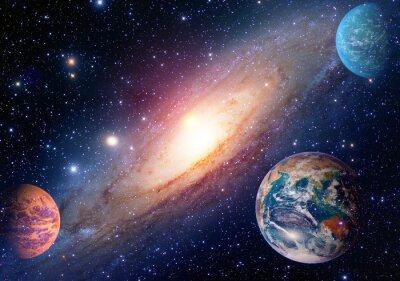 Plakat Astrologia astronomia kosmos ziemia mars układu solarnego planeta Droga Mleczna. Elementy tego zdjęcia dostarczone przez NASA.
