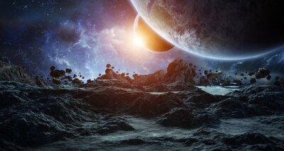 Plakat Astronauci badający asteroidy renderujące elementy 3D tego obrazu dostarczone przez NASA