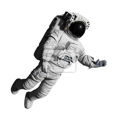 Plakat astronaut during space walk, isolated on white background