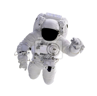 Plakat Astronaut floating in space isolated on white background. (Elements of this image furnished by NASA)