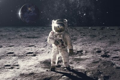 Plakat Astronaut on rock surface with space background. Elements of this image furnished by NASA