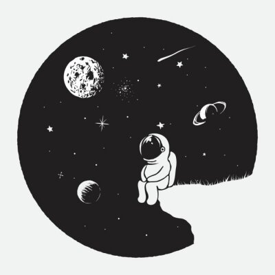 Plakat Astronauta patrzeje wszechświat Przestrzeń wektoru ilustracja Druku projekt dla ubiera